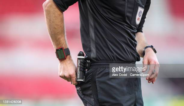 Referee Jarred Gillett in action during the Sky Bet Championship match between Middlesbrough and Cardiff City at Riverside Stadium on February 27,...
