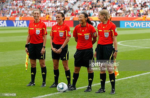 Referee Jenny Palmqvist of Sweden and her assistants Anna Nystrom and Helen Karo and Christina Pedersen of Norway during the FIFA Women's World Cup...