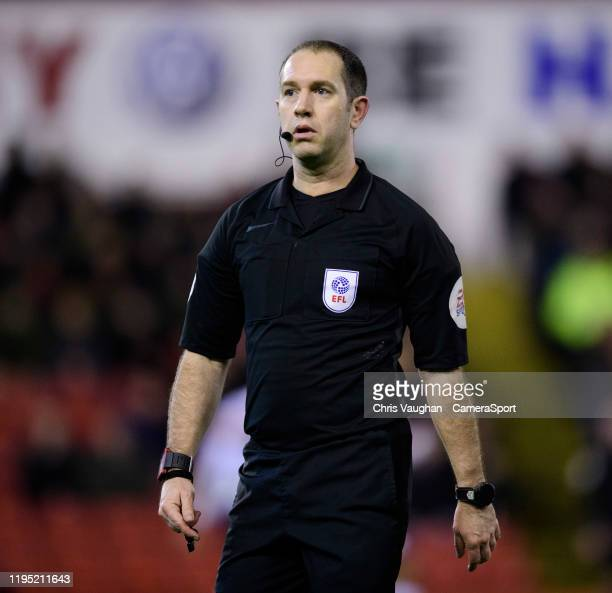 Referee Jeremy Simpson during the Sky Bet Championship match between Barnsley and Preston North End at Oakwell Stadium on January 21 2020 in Barnsley...