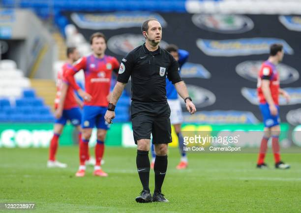 Referee Jeremy Simpson during the Sky Bet Championship match between Cardiff City and Blackburn Rovers at Cardiff City Stadium on April 10, 2021 in...