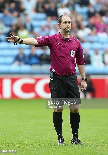 Referee Jeremy Simpson in action during the Sky Bet League One match between Coventry City and Northampton Town at Ricoh Arena on August 27 2016 in...