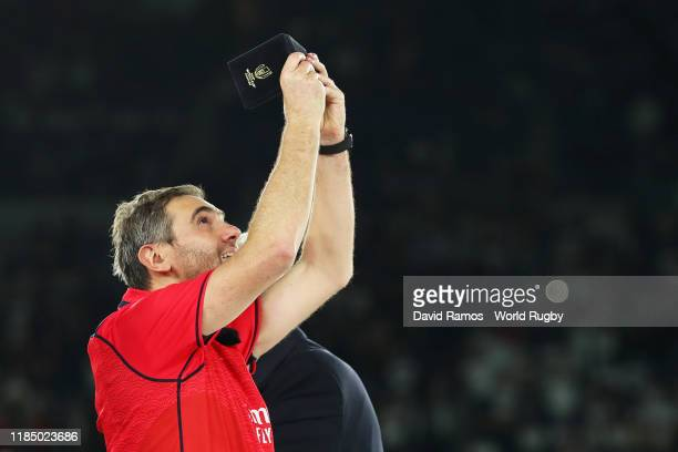 Referee Jerome Garces celebrates with his medal after the Rugby World Cup 2019 Final between England and South Africa at International Stadium...