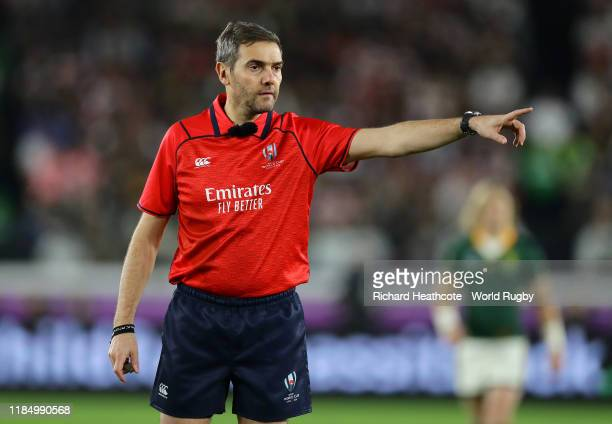 Referee Jerome Garces gestures during the Rugby World Cup 2019 Final between England and South Africa at International Stadium Yokohama on November...