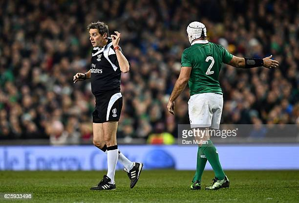 Referee Jerome Garces gestures to Rory Best of Ireland during the international match between Ireland and Australia at the Aviva Stadium on November...