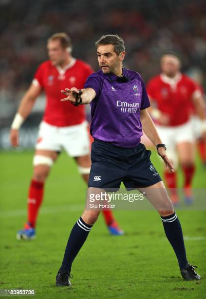 Referee Jerome Garces makes a decision during the Rugby World Cup 2019 Semi-Final match between Wales and South Africa at International Stadium...