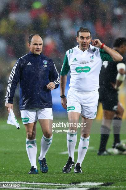 Referee Jerome Garces of France and assistant referee Jaco Peyper of South Africa during the International Test match between the New Zealand All...
