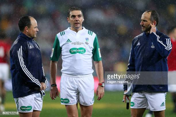 Referee Jerome Garces of France assistant referee Romain Poite of France and assistant referee Jaco Peyper of South Africa talks before showing Sonny...