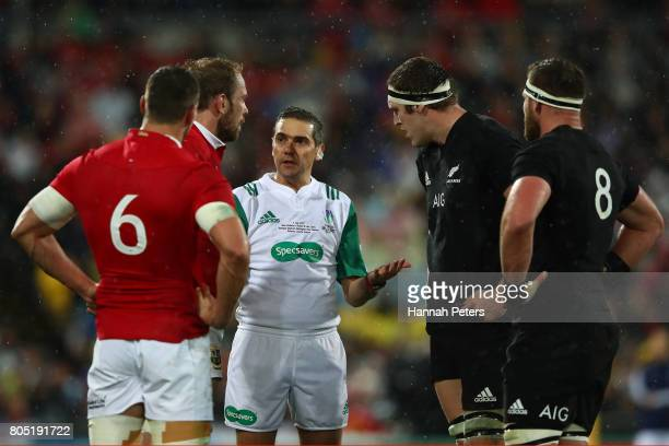 Referee Jerome Garces of France lectures the players during the second test match between the New Zealand All Blacks and the British Irish Lions at...
