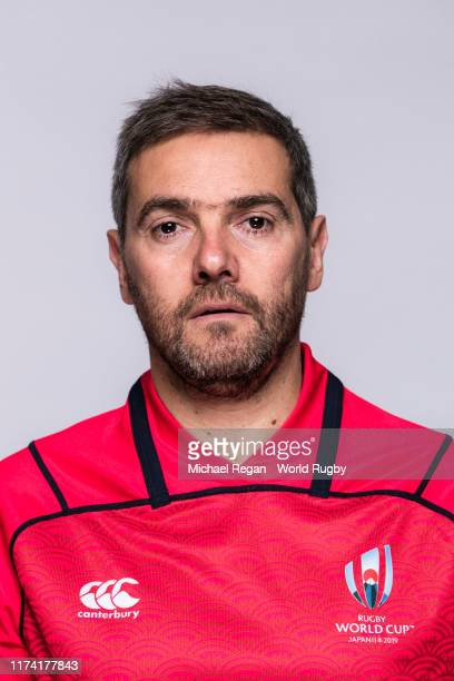 Referee Jerome Garces poses for a portrait during the Referee's Rugby World Cup 2019 squad photo call on on September 12, 2019 in Tokyo, Japan.