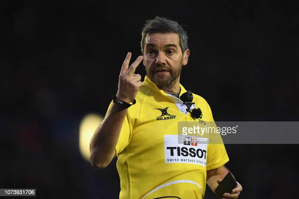 Referee Jerome Garces reacts during the Champions Cup match between Cardiff Blues and Saracens at Cardiff Arms Park on December 15 2018 in Cardiff...