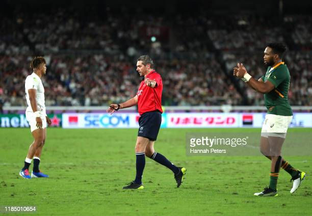 Referee Jerome Garces signals during the Rugby World Cup 2019 Final between England and South Africa at International Stadium Yokohama on November...