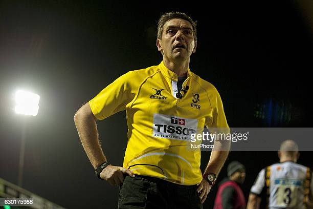 Referee Jerome Garces watches a large screen during the European Rugby Champions Cup Round 4 match between Connacht Rugby and Wasps at the...