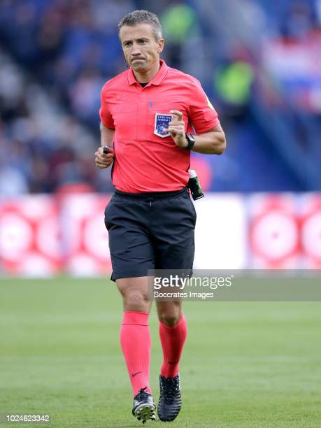 referee Jerome Miguelgorry during the French League 1 match between Paris Saint Germain v Angers at the Parc des Princes on August 25 2018 in Paris...