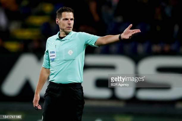 Referee Jochem Kamphuis during the Dutch Eredivisie match between Fortuna Sittard and Ajax at Fortuna Sittard Stadion on September 21, 2021 in...