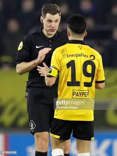 referee Jochem Kamphuis Manu Garcia Alonso of NAC Breda during the Dutch Eredivisie match between NAC Breda v AZ Alkmaar at the Rat Verlegh Stadium...
