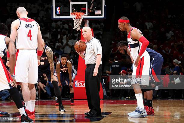 NBA referee Joe Crawford gets ready to toss the jumpball between the Washington Wizards and Atlanta Hawks in Game Three of the Eastern Conference...