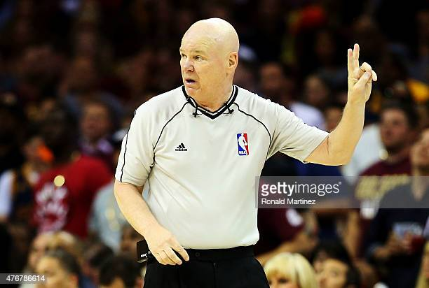 Referee Joe Crawford officiates during Game Four of the 2015 NBA Finals between the Golden State Warriors and the Cleveland Cavaliers at Quicken...