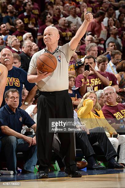 Referee Joe Crawford officiates his 50th NBA Finals game during Game Four of the 2015 NBA Finals at The Quicken Loans Arena on June 11 2015 in...