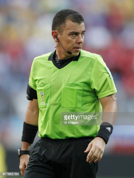 referee Joel Aguilar during the 2018 FIFA World Cup Russia group F match between Sweden and Korea Republic at the Novgorod stadium on June 18 2018 in...