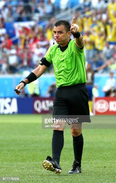 Referee Joel Aguilar gestures during the 2018 FIFA World Cup Russia group F match between Sweden and Korea Republic at Nizhniy Novgorod Stadium on...