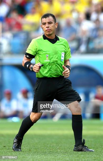 Referee Joel Aguilar in action during the 2018 FIFA World Cup Russia group F match between Sweden and Korea Republic at Nizhniy Novgorod Stadium on...