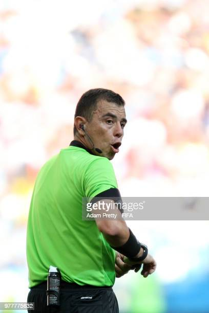 Referee Joel Aguilar looks on during the 2018 FIFA World Cup Russia group F match between Sweden and Korea Republic at Nizhniy Novgorod Stadium on...