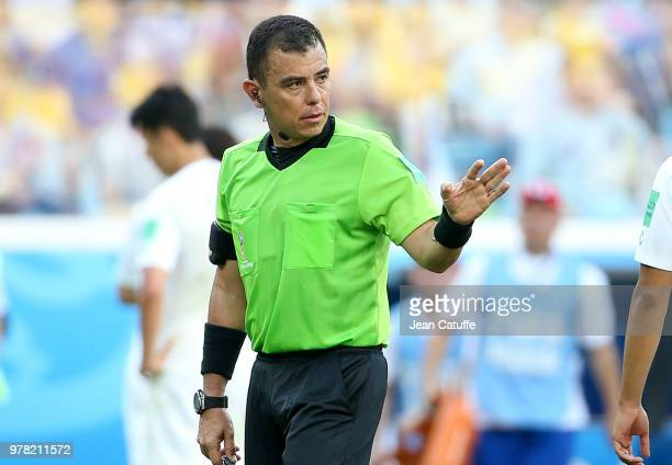 Referee Joel Aguilar of Salvador during the 2018 FIFA World Cup Russia group F match between Sweden and Korea Republic at Nizhniy Novgorod Stadium on...