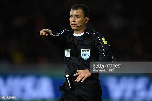 Referee Joel Aguilar of Salvador in action during the FIFA Club World Cup Japan 2015 Semi Final match between Barcelona and Guangzhou Evergrande FC...