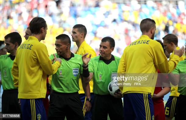 Referee Joel Aguilar sakes the hands with Sweden players during the 2018 FIFA World Cup Russia group F match between Sweden and Korea Republic at...
