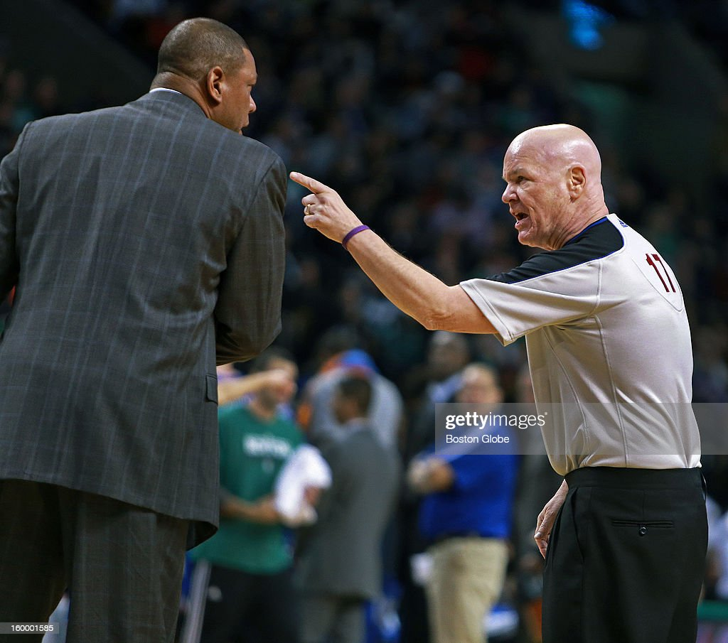 Referee Joey Crawford, right, had some pointed words as he barked at Celtics coach Doc Rivers during a fourth quarter time out as the Boston Celtics hosted the New York Knicks in an NBA regular season game at TD Garden.