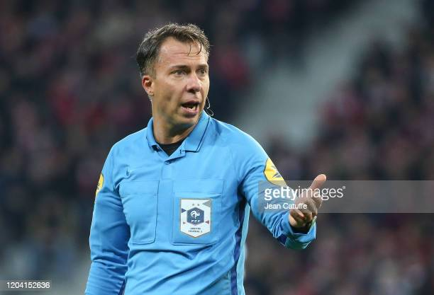 Referee Johan Hamel during the Ligue 1 match between Lille OSC and Stade Rennais at Stade Pierre Mauroy on February 4, 2020 in Villeneuve d'Ascq near...