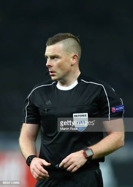 Referee John Beaton looks on during the UEFA Europa League group J match between Hertha BSC and Zorya Lugansk at Olympiastadion on November 2 2017 in...