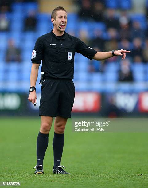 Referee John Brooks during the Sky Bet League One match between Shrewsbury Town and Swindon Town at Greenhous Meadow on October 1 2016 in Shrewsbury...
