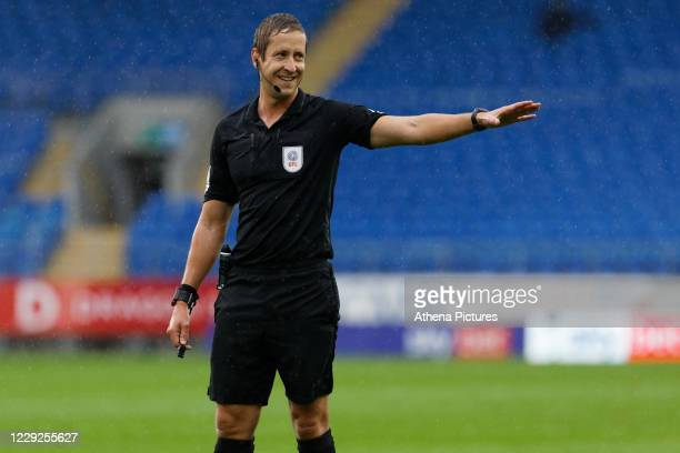 Referee John Brooks in action during the Sky Bet Championship match between Cardiff City and Middlesbrough at the Cardiff City Stadium on October 24...