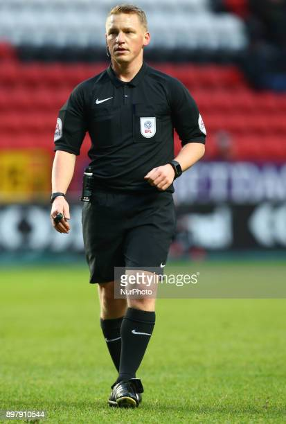 Referee John Busby during Sky Bet League One match between Charlton Athletic against Blackpool at The Valley Stadium London on 23 Dec 2017