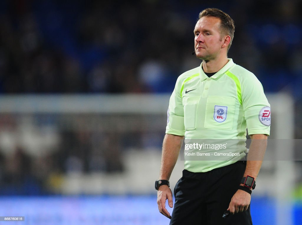 Referee John Busby during the Sky Bet Championship match between Cardiff City and Ipswich Town at Cardiff City Stadium on October 31, 2017 in Cardiff, Wales.