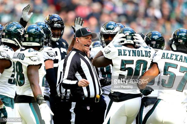 Referee John Hussey reacts during the NFL International Series match between Philadelphia Eagles and Jacksonville Jaguars at Wembley Stadium on...