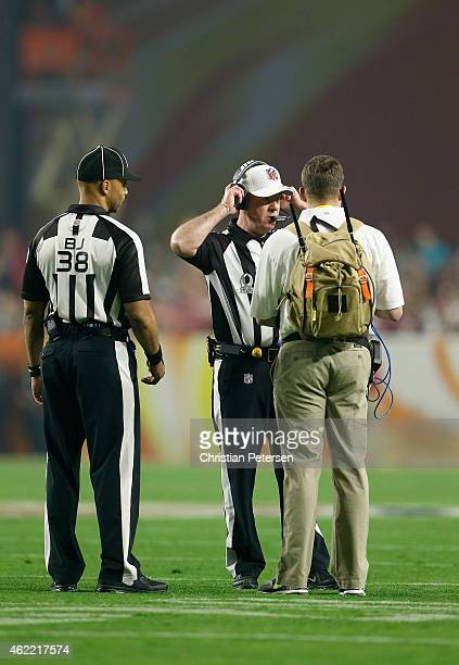 Referee John Parry and back judge Greg Yette review a play from the field during the second half of the 2015 Pro Bowl at University of Phoenix...