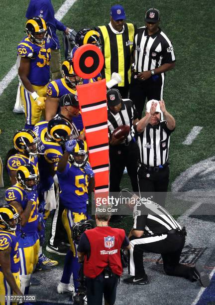 Referee John Parry calls fourth down during Super Bowl LIII between the Los Angeles Rams and the New England Patriots at MercedesBenz Stadium on...