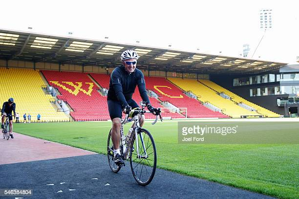 Referee Jon Moss at Vicarage Road Stadium Watford during the Premier League Referees Charity Bike Ride on July 12 2016 in London England