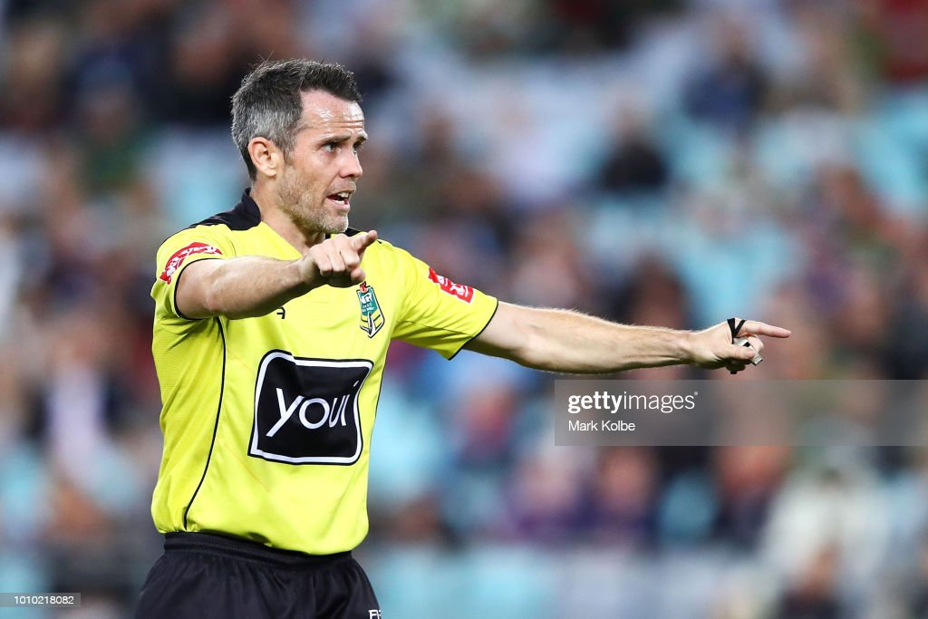 Referee Jon Stone calls instructions during the round 21 NRL match between the South Sydney Rabbitohs and the Melbourne Storm at ANZ Stadium on August 3, 2018 in Sydney, Australia.