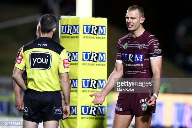 Referee Jon Stone speaks to Tom Trbojevic of the Sea Eagles during the round 23 NRL match between the Manly Sea Eagles and the Gold Coast Titans at...