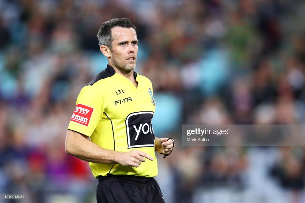 Referee Jon Stone watches play during the round 21 NRL match between the South Sydney Rabbitohs and the Melbourne Storm at ANZ Stadium on August 3, 2018 in Sydney, Australia.