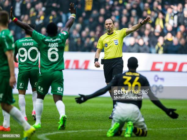 Referee Jonas Eriksson during an Allsvenskan match between AIK and Hammarby IF at Friends arena on April 17 2017 in Solna Sweden