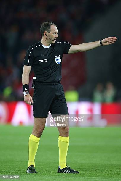 Referee Jonas Eriksson gestures during the UEFA Europa League Final match between Liverpool and Sevilla at St JakobPark on May 18 2016 in Basel...