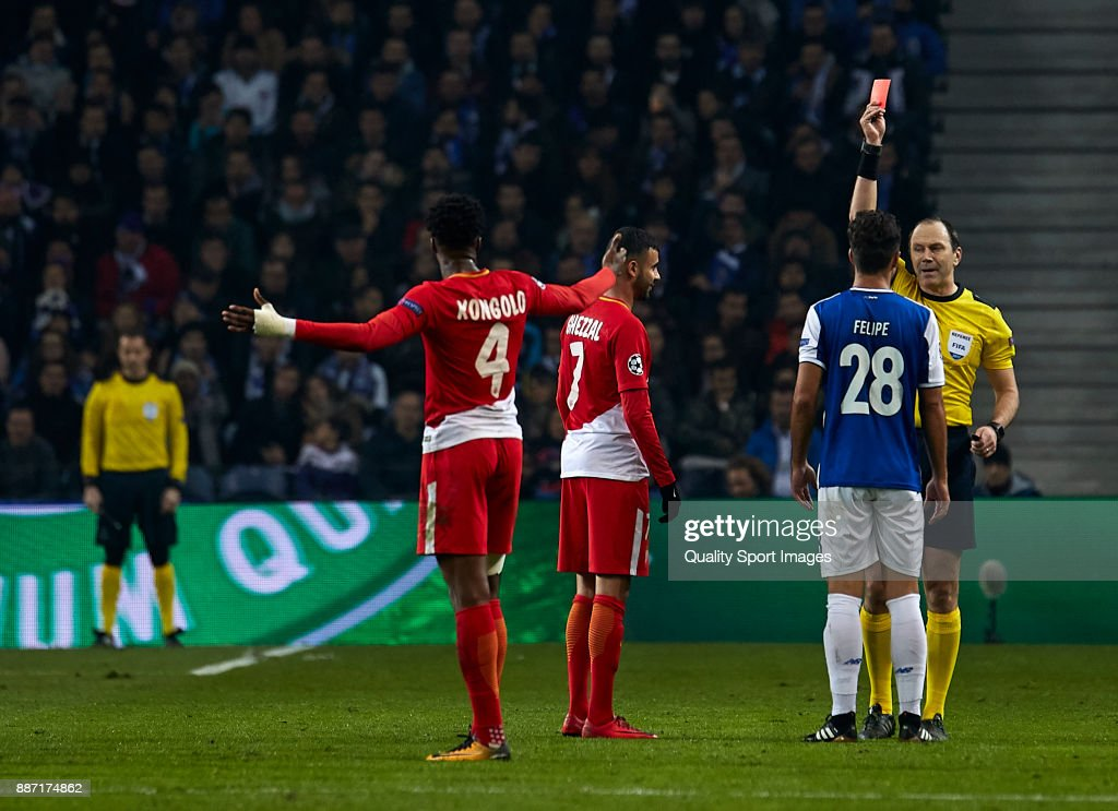 Referee Jonas Eriksson shows red card to Rachid Ghezzal of AS Monaco...  News Photo - Getty Images