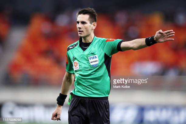 Referee Jonathan Barreiro is seen during the round 20 ALeague match between Western Sydney Wanderers and Perth Glory at Spotless Stadium on February...