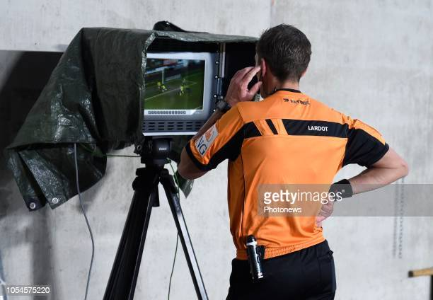 referee Jonathan Lardot using the VAR pictured during Jupiler Pro League match between STVV and Club Brugge on october 272018 in Sint Truiden Belgium