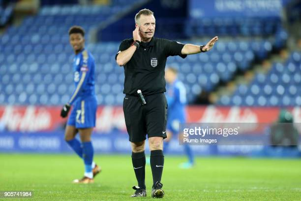 Referee Jonathan Moss consults the VAR before awarding the goal to Kelechi Iheanacho of Leicester City to make it 20 during the FA Cup Third round...