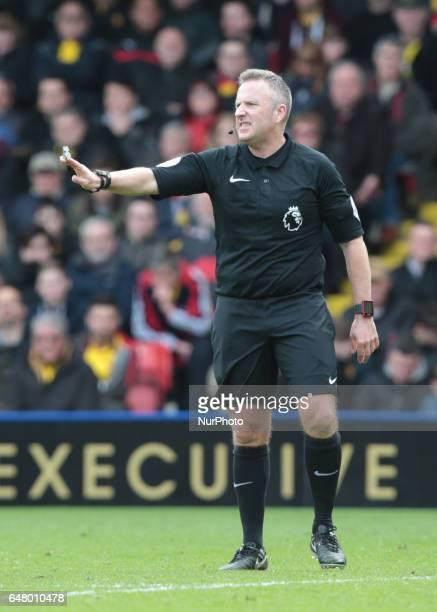 Referee Jonathan Moss during EPL Premier League match between Watford against Southampton at Vicarage Road Watford Britain 04 Mar 2017